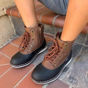 NEW SIZES ** BOYS BLACK/ BROWN LACE UP DUCK BOOTS